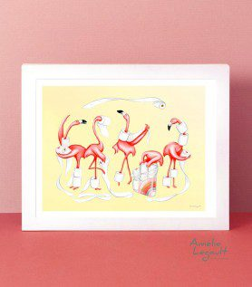 Affiche – Flamants et papier de toilette