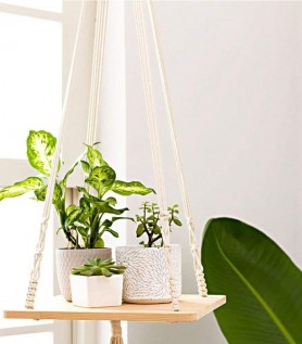 Support pour plantes – Tablette & macramé